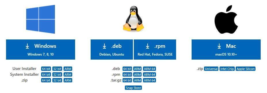 Download options for Visual Studio Code