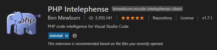 PHP Intelephense VS Code extension illustration
